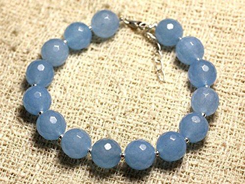 LOVEKUSH Pulsera redonda de plata de ley 925 al por mayor de 10 mm de color azul jade azul, facetada 7.5 pulgadas para hombres, mujeres, gf, bf y adultos.
