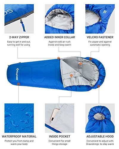 KingCamp Trek 3-4 Temporada Junior/Adultos Saco de Dormir de mamá Doble Capa cálido para Acampar Senderismo al Aire… 1