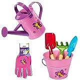 mike set attrezzi da giardino per bambina  secchiello, innaffiatoio, tris utensili+ guanti giardinaggio  kit giardinaggio bambini 6 pezzi  rosa (set rosa)