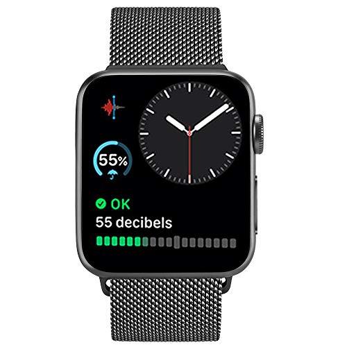 ATUP メタルバンドコンパチブル Apple Watch バンド 38mm 40mm 42mm 44mm,ミラネーゼループ アップルウォッチバンド,コンパチブル iWatch 通用ベルト apple watch series 5/4/3/2/1に対応 交換ベルトステンレス製 (42mm/44mm, ブラック)
