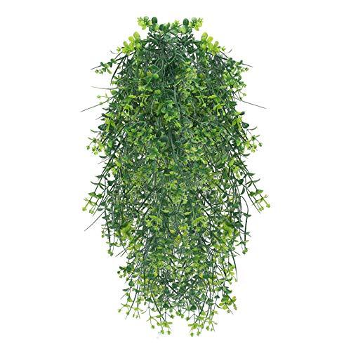 HUAESIN 2pcs Plantas Artificiales Colgantes Decorativas, Rama de Eucalipto Artificial Pequeñas Hojas Guinalda Verde Enredadera Plastico Hiedra para Balcon Pared Maceta Cesta Balcon Hogar Cocina Baño