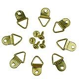 100 pezzi gancio per foto D anelli cornice per foto ganci per appendere ganci gancio per parete con gancio e viti in acciaio inossidabile dorato