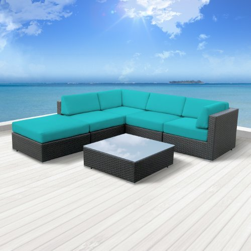 Hot Sale Luxxella Outdoor Patio Wicker Beruni Turquoise Sofa Sectional Furniture 6pc All Weather Couch Set