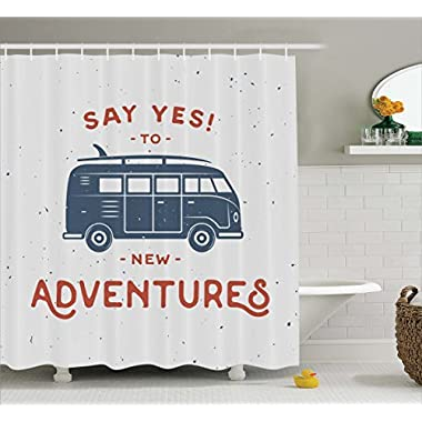 Ambesonne Vintage Decor Shower Curtain, New Adventures Typography with Little Van Hippie Style Life Free Spirit Design, Fabric Bathroom Decor Set with Hooks, 70 Inches, Cadet Blue White
