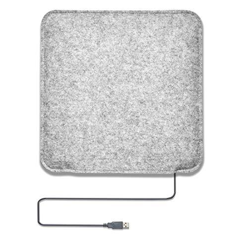 Amare Gartenfreude beheizbares Sitzkissen mit USB-Anschluss aus Filz zum Wenden, 35 x 35 cm, dunkelgrau / hellgrau 9301-1000-002, 1 Stck. Inkl. Heizmatte
