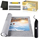 Jigsaw Puzzle Mat Roll Up - 1000 Pieces and 1500 Pieces Saver Large Puzzles Board for Adults Kids, Storage and Transport Premium Pump Glue Puzzles Felt Mat Inflatable Tube Holder Organizer Pad Keeper