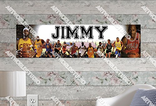 NBA Superstars #2 - 8.5'x30' Personalized Name Poster, Customize Name Sign, Birthday Party Banner