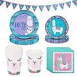 Noe 81 piezas de decoración para fiestas de cumpleaños de Lama Alpaca con platos, vasos y servilletas para 10 niños, para cumpleaños infantiles y fiestas temáticas