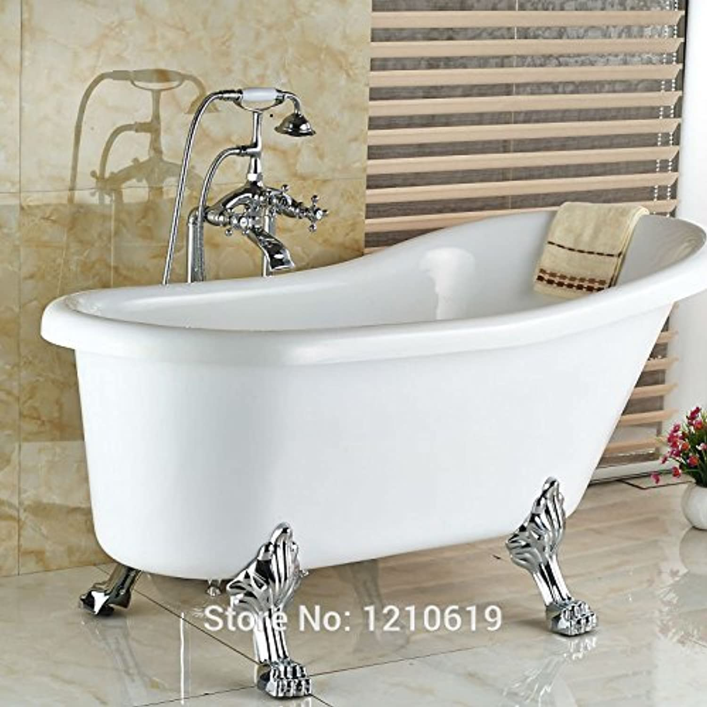 Galvanik Retro Wasserhahn neu Stock Typ Chrome Badewanne Dusche Mischer Hahn Telefon Stil Badewanne Armatur w Hand Spritzgert mit zwei Griffen, Multi Tap
