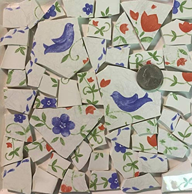 Mosaic Art & Crafts Supply ~ Pennsylvania Dutch Bird & Flowers Floral Tiles (B598)