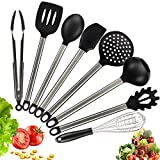 Silicone Cooking Utensil Set,8pcs Thickened Non-stick with Stainless Steel Handle - BPA Free Heat...