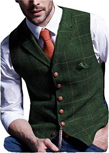 Solove-Suit Chaleco de traje informal para hombre, de tweed Slim Fit verde XXL