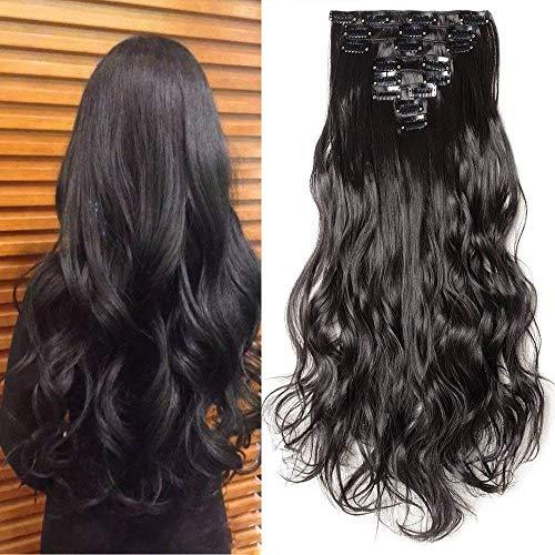Clip in Extensions wie Echthaar Schwarz Haarteile 8 Tresssen günstig komplette Haarverlängerung Gewellt 17