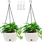 GROWNEER 2 Packs 9.4 Inches Plastic Hanging Planter Self Watering Basket with 6 Pcs Hooks, Hanging Flower Pot with Detachable Base for Garden Indoor Outdoor Home Decoration (White)