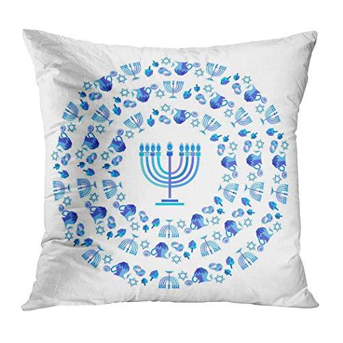 Moladika Hanukkah Throw Pillow Cover Square 18 x 18 Inch Holiday Traditional Chanukah Cushion Home Decor Living Room Sofa Bedroom Office Polyester Pillowcase