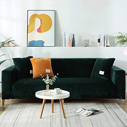 XM&LZ Plüsch Sofabezug Für 1 2 3 4 Kissen Couch,Staub-Beweis Samt Strecke Sofa Überzug,Sesselbezug Möbel Sofa-Protektor Grün 3-sitzer/190-230cm