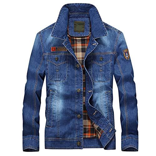 Jeansjacke Herren Retro Plaid Futter Baumwolle Casual Long Sleeves Washed Regular Fit Stickerei Coat Denim Jacke,Light Blue,XL