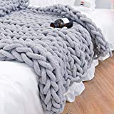 Xpreen Chunky Knit Blanket Chenille Throw Blanket Knitted Throw Blanket for Bed, Sofa & Chair - Soft Chenille Yarn Home Decor Large Knit Throw Blankets(47'x60', Grey)