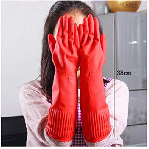 Guantes de látex de Goma de Manga Larga, Herramienta roja para Lavar Platos, Limpieza, Accesorios de Limpieza Impermeables-L
