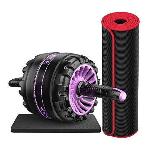 Rueda de rebote automático para abdominales, equipo de ejercicio para el abdomen, para principiantes, profesionales, para mujer, músculos abdominales delgados (color: morado)