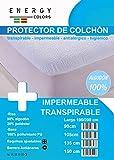 ENERGY COLORS textil-hogar Protector Colchón Impermeable Rizo Algodón 90% Esquina Elástica Ajustable Transpirable (135_x_200_cm)