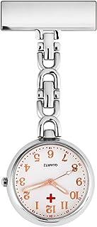 Fintier 男女兼用 シンプルな クロスポイント ナースウォッチ ナース時計 逆さ時計 懐中時計 看護師 ピンクリップ (シルバー)