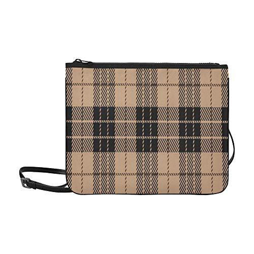 N\A Mode Canvas Taschen Schwarz Beige Tartan Plaid Nahtlos Schottisch Verstellbarer Schultergurt Reisetasche Cross Body Für Frauen Mädchen Damen Farbe Handtaschen Lässige Handtasche