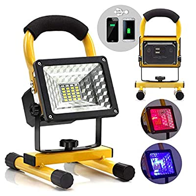 eTopLighting 15W Portable LED Flood Spot Light with Rechargeable Battery and Built-in Power Bank for Outdoor Activities, Work Light, Camping Lights, Emergency Light, Outdoor Lantern