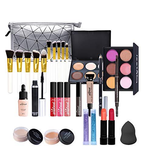 Mehrzweck Make-up-Sets, 28 Stück All-in-One Kosmetik Set, Augen Gesichts Make-up, Tragbare Reisen Organizer - Komplettes Kosmetik-Kit mit Lidschatten Paletten Lippenstift Concealer Usw