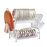 Estante de Almacenamiento de Cocina Multifuncional Estante para Platos de 2 Niveles Escurridores de Acero Inoxidable para Cocina Estantes para secar Platos Estante para Platos Cocina Marco Compacto