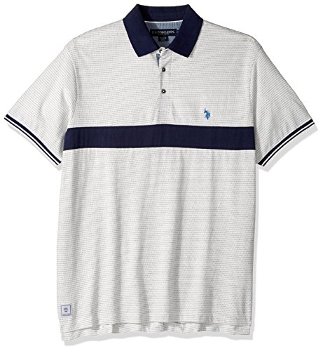 U.S. Polo Assn. Men's Classic Fit Color Block Short Sleeve Jersey Polo Shirt, 8536-White Winter, M