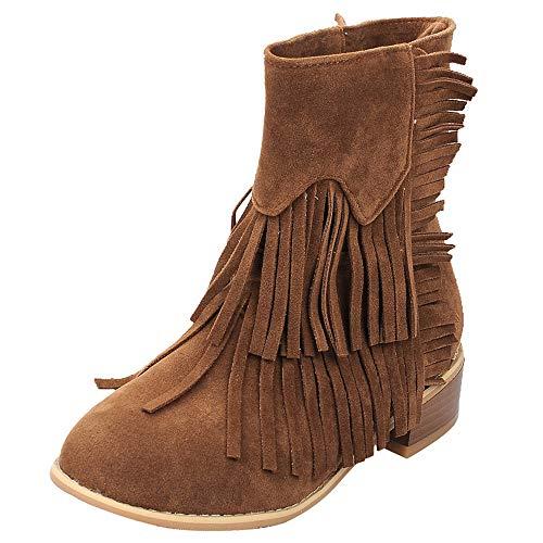 Botas Camperas cuña para Mujer Otoño Invierno 2018 Moda PAOLIAN Botines de Nieve Calzado tacón Ancho Dama Botas Militares Botas Chukka Zapatos Vestir Aire Libre Talla Grande Señora con Fleco