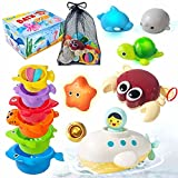 PATIFEED Bath Toys Gifts for Age 3 4 5 6 7 8+ Years Old Kids Boys Girls Toddlers - Swim Pool Bathtub Tub Toys for Toddlers, Stacking Cup with Wind Up Water Toys for Baby Birthday Christmas