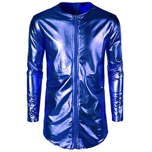 Men's Long Sleeve T Shirt Crew Neck Hip Hop Zipper Tops Men's Metallic Shinny T-Shirts Party Costume Stage Performance Nightclub Stylish Streetwear Casual Long Shirts S