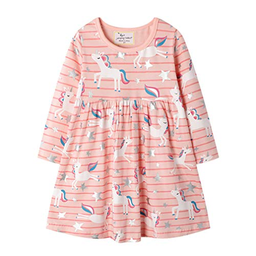 Mädchen Baumwolle Kurze/LangeÄrmel Kleid Lässiger süßer Drucken T-Shirt Kleid 1-7 Jahre (3-4 Jahre, Langarm - pink und Einhorn)