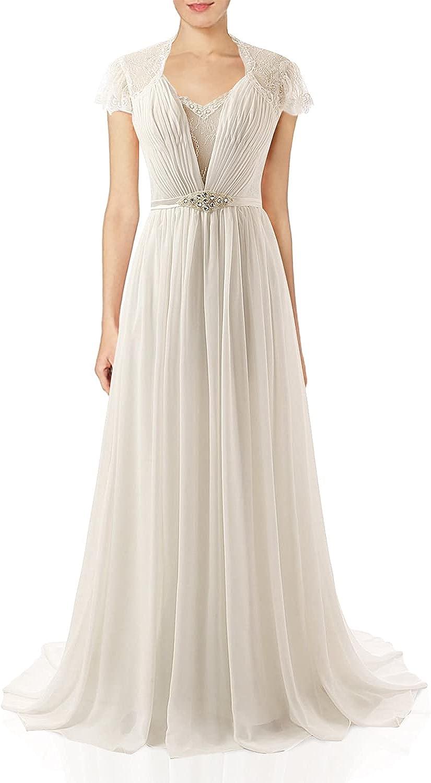 Wedding Dress for Bride Chiffon Bridal Gown Lace Wedding Gown Cap Sleeve Bride Dresses