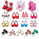 TOYYSB 6 Pairs of Doll Shoes 100% Get Boots Fits 14.5 inch Doll American Wellie Wishers Dolls