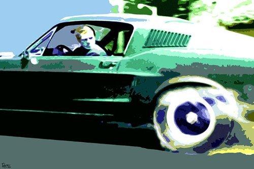 LAMINATED Steve McQueen Pop Art Mustang Bullitt - Poster Measures 23.5' x 16.5' Inches (59.4 x 42 cm) approx.