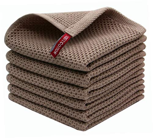 Mia'sDream Natural Cotton Tidy Dish Cloths Rags Waffle Weave Kitchen Towels, Soft and Absorbent Hand Towel Washcloths, 12inchx12inch 6 Pack(Brown)