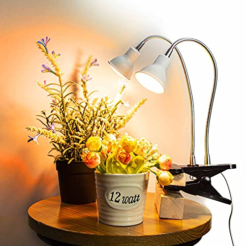 Dommia LED Plant Light for Indoor Plants, Dual Head Desk Clamp Lamp with Swivel 360 Degree Flexible Gooseneck and One Switch, Warmwhite Comfortable Light Growing Lamp for Home and Office Indoor Plants
