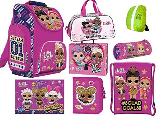 L.O.L Surpise LOL Schulranzen Set ergonomischer Ranzen Federmappe Turnbeutel Schlamperrolle Zeichenbox Schreibtischunterlage Tasche Regenhülle Mädchen rosa 8-teilig LOL Puppen Glam Lizenz