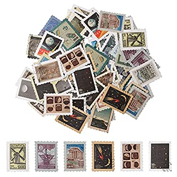 92 Pack Vintage Postage Stamp Stickers,Scrapbook Stickers Journal Stickers for Scrapbook Laptop,Botanical Decorative Sticker Set for Crafts,Phone ,Embelishment Diary