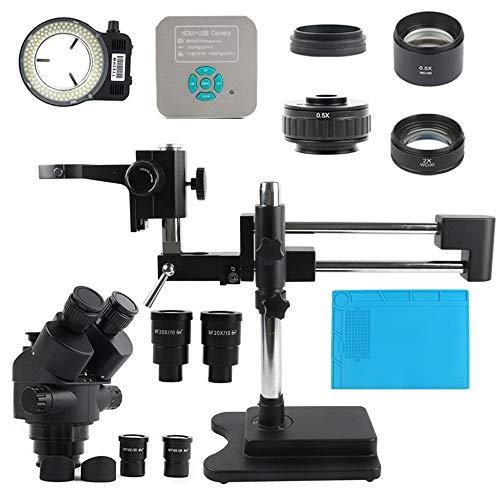 Ofgcfbvxd Digitales Mikroskop 7-45x 1080P 36MP HDMI USB-Videokamera Simul Focal Doppelgalgenstativ Stereomikroskop for Telefon-SMD-CPU Löten (Farbe : Schwarz, Größe : Einheitsgröße)