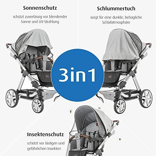 reer ShineSafe Bite 3in1: Sonnenschutz, Insektenschutz und Schlummertuch, universelles Zubehör für Kinderwagen und Buggys, grau