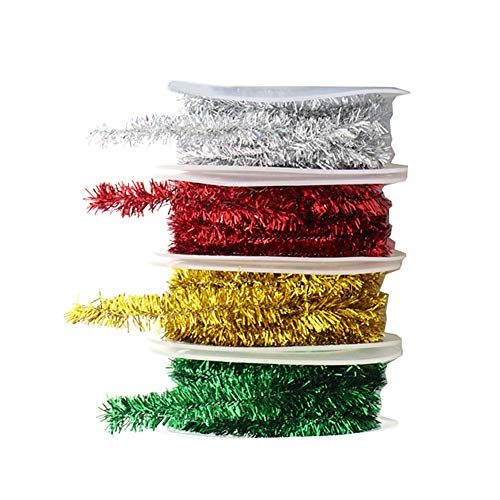 FSSTUD 4 Rolls Tinsel Wire Garland Metallic Streamers Glitter Ribbon for Crafts Party Decoration