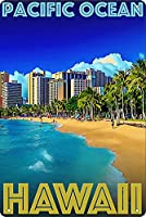 太平洋ハワイアートポスターヴィンテージブリキサインレトロな装飾金属サイン金属バー壁家の装飾8x12インチ
