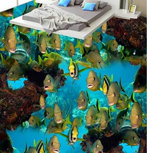 Fondo de pantalla de suelo 3d personalizado Coral sea fish 3d baldosas de suelo pvc papel tapiz autoadhesivo suelo de baldosas baño-150 * 105cm
