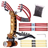 SLINGQIKAI Strong Wrist Support for Folding Slingshot,Professional Outdoor Hunting Slingshot, Stainless Steel Catapult-It Comes with six Replaceable Rubber Bands and 50 Steel Balls