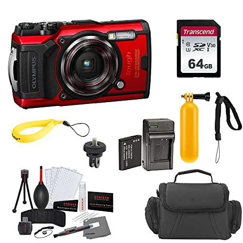 Olympus Tough TG-6 Digital Camera Bundles (Red, Extra Battery & Charger)