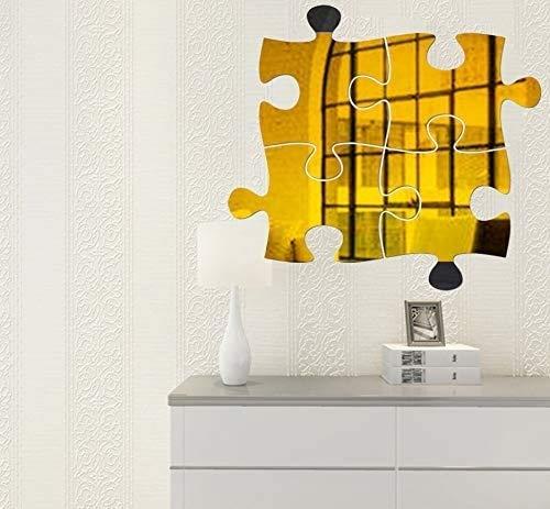 Moda Puzzle 3D espejo pegatinas de pared, 4 unids espejo arte bricolaje hogar decorativo acrílico espejo de pared hoja de pared espejo plástico azulejos para hogar sala de estar dormitorio sofá sofá c